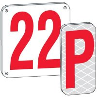 """18"""" Red Aluminum Number And Letter Plates"""