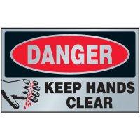 Danger Keep Hands Clear Aluminum Warning Plates