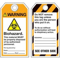 ANSI Biohazard Warning Tags