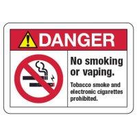 ANSI Danger Sign - No Smoking or Vaping