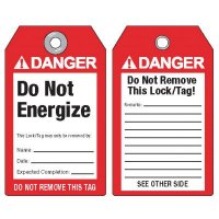 ANSI Lockout Tags - Danger Do Not Energize