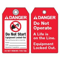 ANSI Lockout Tags - Danger Do Not Start Equipment Locked-Out