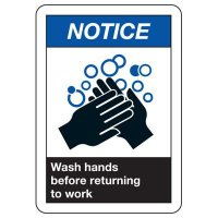 ANSI Signs - Notice Wash Hands Before Resturning To Work