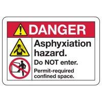 ANSI Safety Signs - Danger Asphyxiation Hazard