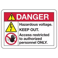 Electrical Safety Signs - ANSI Danger Hazardous Voltage Keep Out