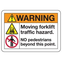ANSI Safety Signs - Warning Moving Forklift