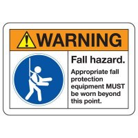 ANSI Safety Signs - Warning Fall Hazard Approved Fall Protection