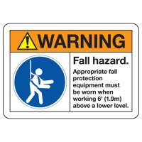 ANSI Safety Signs - Warning Fall Hazard Appropriate Fall Protection