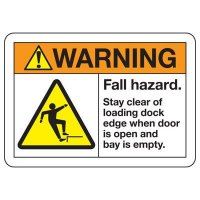 ANSI Safety Signs - Warning Fall Hazard Stay Clear