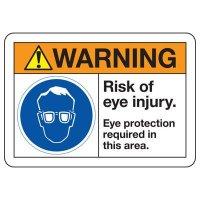 ANSI Safety Signs - Warning Risk Of Eye Injury