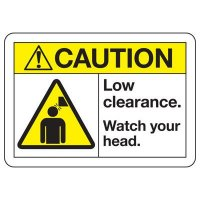 ANSI Safety Signs - Caution Low Clearance
