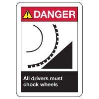 ANSI Danger Drivers Chock Wheels Signs