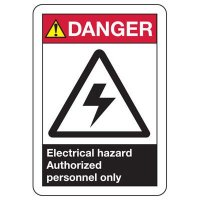 Electrical Safety Signs - ANSI Danger Electrical Hazard Authorized Personnel Only