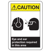ANSI Caution Ear & Eye Protection Required Sign