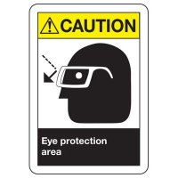 ANSI Caution Eye Protection Signs