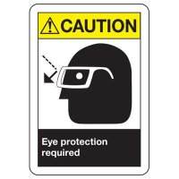 ANSI Caution Eye Protection Required Sign