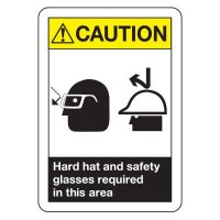ANSI Caution Hard Hat and Glasses Signs