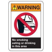 ANSI Warning No Smoking, Eating, Drinking Signs