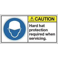 ANSI Warning Labels - Caution Hard Hat Protection Required