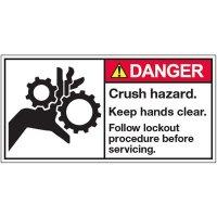 ANSI Warning Labels - Danger Crush Hazard