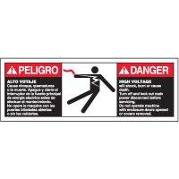 Bilingual ANSI Warning Labels - Danger High Voltage