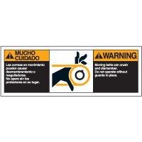 Bilingual ANSI Warning Labels - Warning Moving Belts
