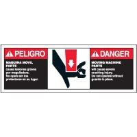 Bilingual ANSI Warning Labels - Danger Moving Machine Parts