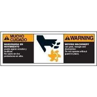Bilingual ANSI Warning Labels - Warning Moving Machinery