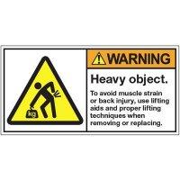 ANSI Warning Labels - Warning Heavy Object