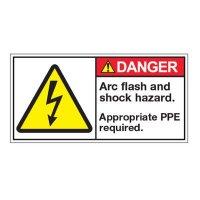 ANSI Warning Labels - Danger Arc Flash And Shock Hazard