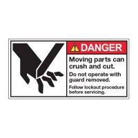 ANSI Warning Labels - Danger Moving Parts Follow Lockout