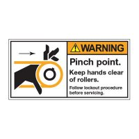 ANSI Warning Labels - Warning Pinch Point Keep Hands Clear