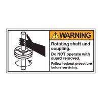 ANSI Warning Labels - Warning Rotating Shafts And Coupling