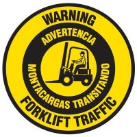 Bilingual Floor Safety Signs - Warning Forklift Traffic