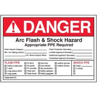 Arc Flash Labels - Danger Arc Flash And Shock Hazard Appropriate PPE Required