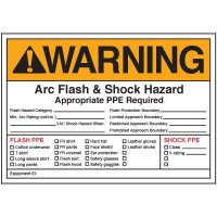 Arc Flash Labels - Warning Arc Flash And Shock Hazard Appropriate PPE Required Flash Hazard Category