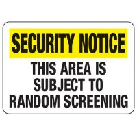 Area Subject To Random Screening - Metal Detector Inspection Signs