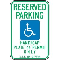 Reserved Parking Handicap Plate Sign