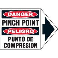 Bilingual Arrow Labels - Danger Pinch Point