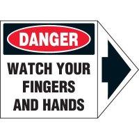 Arrow Labels - Danger Watch Your Fingers And Hands