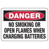 Danger No Smoking When Charging Battery Sign