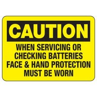 Battery Face & Hand Protection Sign