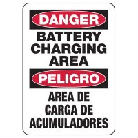 Bilingual Danger Battery Charging Signs