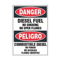 Bilingual Chemical Safety Labels - Danger Diesel Fuel