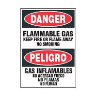 Bilingual Chemical Safety Labels - Danger Flammable Gas