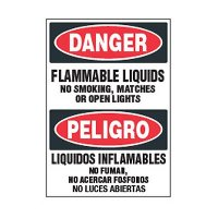 Bilingual Chemical Safety Labels - Danger Flammable Liquids