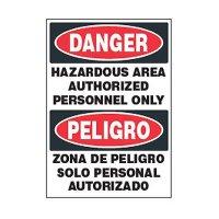 Bilingual Chemical Safety Labels - Danger Hazardous Area