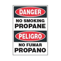 Bilingual Chemical Safety Labels - Danger No Smoking Propane