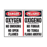 Bilingual Chemical Safety Labels - Oxygen No Smoking