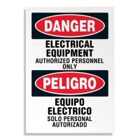 Voltage Warning Labels - Bilingual Danger Electrical Equipment